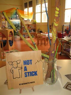 'Not a Stick' charming book provocation for creative imagination at school (Via Natalie Giulianelli) One of my favourite children's books. Kindergarten Inquiry, Inquiry Based Learning, Kindergarten Activities, Classroom Activities, Early Learning, Book Activities, Reggio Classroom, Kindergarten Classroom, Forest Classroom