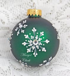 Dark Green Hand Painted Ornament with 3D Snowflake Texture Design and Bling 446