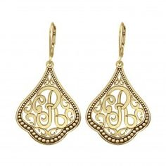 Alison and Ivy Classic Script Initial Earrings (35x26mm) - $185.00