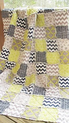 Queen Size Quilt, Rag, Charfusion, grey navy chartruese, ALL NATURAL, country decor bedding on Etsy, $339.00