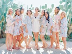 bridesmaids in silk floral robes - Melissa Jill Photography