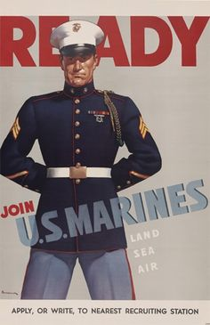 Vintage Marine Corps Poster. Join the Marines.