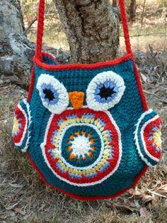 Crocheted Groovy Owl Tote - crochet bag