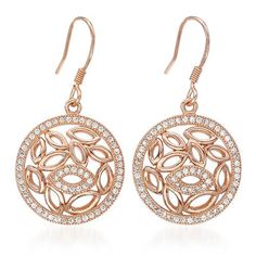 Intricate metalwork and 2 carats of sparkling cubic zirconia stones create a beautiful aesthetic for these wonderful two-tone sterling silver earrings. These danglers drop delightfully from your ears and send light around the room as you move.