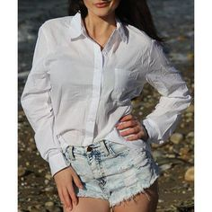 Casual Women's Solid Color Shirt Collar Long Sleeves Loose-Fitting Shirt