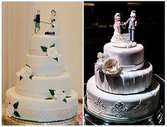 Bolo fake para casamento de Patricia Zelleroff Cake Designer com noivinhos no…