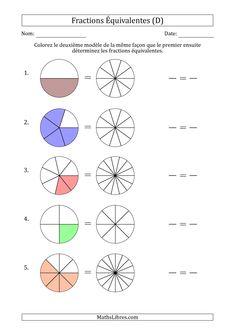 La fiche d'exercices de maths Fractions Équivalentes à l'Aide des Modèles et Avec une Fraction Simplifiée en Premier (D) de la page dédiée aux Fiches d'Exercices sur les Fractions de MathsLibres.com.