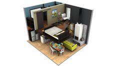 3D Tiny Home Floor Plans Loft One Bedroom