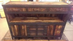 Rustic Reclaimed Wood Industrial Media Cabinet 043