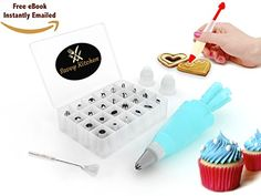 BEST DEAL  24 in 1 Cake Decorating Kit  Icing Tip Set Tools with FREE DECORATING PEN  eBOOK  Includes Storage Case  BONUS Cleaning Brush  Reusable Silicone Icing Bag  With 2 Couplers * Learn more by visiting the affiliate link Amazon.com on image.