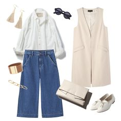 risa denim pants white shirt gillet beige white shoes clutch bag fringe accessory fashion outfit spring
