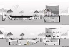 Picture 18 of 20 Gallery SMF Architects proposes a new arts center and large public spaces downtown Seoul. Cortes / longitudinal sections Architecture Concept Drawings, Architecture Panel, Architecture Portfolio, School Architecture, Architecture Details, Amphitheater Architecture, Seoul, Modelos 3d, Architectural Section