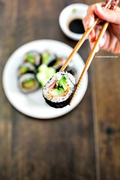Bacon Avocado Cucumber Sushi Rolls. It has savoury and refreshing flavour and crunchiness. Just perfect for spring weather! Easy and quick to roll. | MyKoreanKitchen.com
