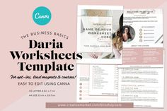 Daria - Worksheet or Course Template ~ Templates ~ Creative Market Lead Magnet, Instagram Post Template, Working On It, Congratulations Card, Web Browser, Cover Pages, Worksheets, Lettering, This Or That Questions