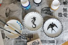 Personalize plain white dishes using porcelain paint and stamps - bake in the oven