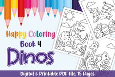 Happy Coloring Book 4 - Dinos (Graphic) by Momentos Crafter · Creative Fabrica Dinosaur Coloring Pages, Coloring Pages For Kids, Coloring Books, Linux, Printable Coloring, Journal Pages, Paper Size, Free Design, Design Elements