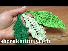 How To Crochet Two-Side Leaf With Chain Spaces In The Middle Tutorial 1 - YouTube
