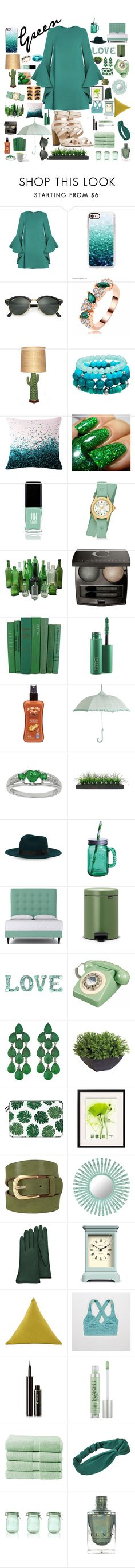 """""""Green stuff✅"""" by haleyshimmer ❤ liked on Polyvore featuring Casetify, Ray-Ban, JINsoon, Michele, Chantecaille, MAC Cosmetics, Hawaiian Tropic, Vintage, Fitz & Floyd and Brabantia"""
