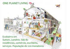 ONE PLANET LIVING Ecobairro em Sutton, Londres. São 82 residências, comércio, escritório, serviços. População de 220 morad...