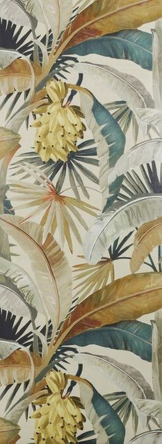 Mokum Wallpaper La Palma Gilver La Palma Wallpaper has been digitally printed onto a pre-embossed paper-based vinyl. The faux linen emboss speaks to bark cloth prints and adds further dimension to this dramatic and playful tropical print. Washable Wallpaper, Wallpaper S, Pattern Wallpaper, Beautiful Wallpaper, Whatsapp Wallpaper, Tropical Wallpaper, Embossed Paper, Tropical Colors, Mural Art