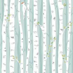 Patty Sloniger - Backyard Baby - Birch Forest in Aqua