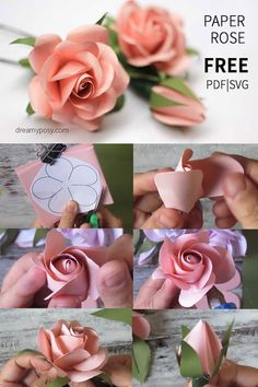 Einfaches Tutorial zum Erstellen einer Papierrose, KOSTENLOSE Vorlage paper flowers Diy Paper Crafts diy crafts and ideas with paper Paper Flowers Craft, Giant Paper Flowers, Flower Crafts, Diy Flowers, Fabric Flowers, Flower Paper, Crepe Paper Roses, Paper Flower Bouquets, Diy Paper Roses