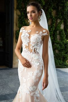 2017 Wedding Dresses | 3D Lace, Tulle, and Satin Fit and Flare Mermaid Gown with an Illusion 3D Lace Sweetheart Neckline with Interior Bust Cups, Illusion Lace Cap Sleeves, Illusion Lace Fitted Bodice with a Natural Waistline, Lace on Tulle Over Satin Fit and Flare Mermaid Skirt, Chapel Train, Illusion Lace Scoop Mid Back with Hidden Zipper Closure