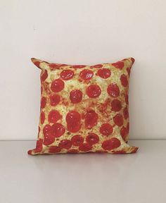 Caution, hot! Just kidding. Mouthwatering yummy gooey delicious pepperoni pizza print throw pillow. Individually cut and sewn in LA.