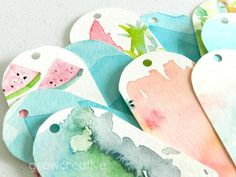Make colorful thrifty gift tags from recycled watercolor paintings: GrowCreative