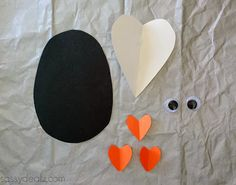 paper heart penguin valentine craft - could add message on back...To One Cool Friend!