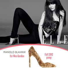 Katie Holmes is featured in the August 2012 issue of ELLE wearing Manolo Blahnik for Wes Gordon pumps.  continue reading →