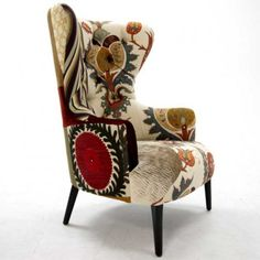 elegant chair with color palette Funky Furniture, Furniture Makeover, Painted Furniture, Chair And Ottoman, Wingback Chair, Poltrona Vintage, Modern Art Movements, Love Chair, Upholstered Furniture