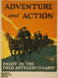 Adventure and Action- Vintage U.S. Army Recruiting poster