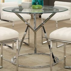 Shop for Furniture of America Casey Contemporary Glass Top Chrome Round Counter Height Table. Get free shipping at Overstock.com - Your Online Furniture Outlet Store! Get 5% in rewards with Club O! - 21305141