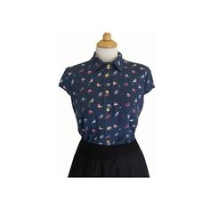 Button up shirt, Blue printed shirt, Women's birds blouse, Short... ❤ liked on Polyvore featuring tops, blouses, short sleeve collared shirt, short sleeve button up shirts, summer blouses, blue collar shirt and summer shirts