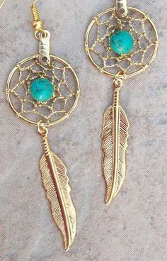 ON SALE Earrings of Gold with Turquoise and by SerenityJewelry