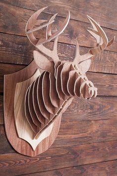 Wooden Deer head stag trophy large Deer on wall 3D by WoodKO