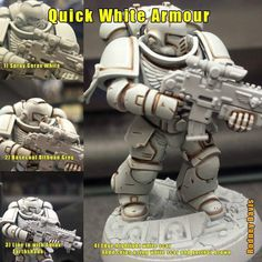 Quick guide to white armour great for White Scars or Tau etc Spray Corax white Basecoat ulthuan grey Line in with Agrax earthshade Edge highlight white scar Add chips using white scar and gorthor brown Warhammer 40k Memes, Warhammer 40k Figures, Warhammer Paint, Warhammer Models, Warhammer 40k Miniatures, Warhammer 40000, Painting Tips, Figure Painting, Painting Tutorials