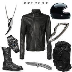 Ride or Die EDC Clockwise (from top right): Fenrir pendant by SVORN, Zipped Jacket by RICK OWENS, Castel St Germain Helmet by RUBY, Arcus Carabiner by SVORN, Back Pack Black Nylon by PORTER x Foot the Coacher, Knife 1306BW by KERSHAW, Biker Boots by by RICK OWENS, Royal Oak Watch by AUDERMARS PIGUET #streetfashion #streetwear #streetstyle #knife #knives #edc #everydaycarry #gear #carabiner #keychain #edcgear #pocketdump #edcporn #edcdump #urbanstyle #gearporn #bike #biker #bikelife…