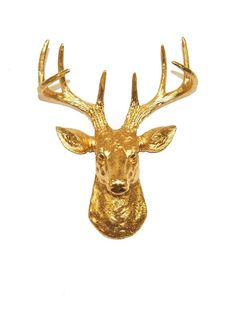 Mini Gold Resin Faux Taxidermy Stag Head. A very cool and chic way to hang your most display-worthy necklaces.