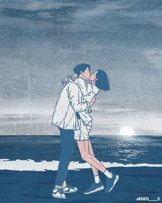 Cute Illustration Describing Positive Aspects of Love: Kwon - Anime Art Cute Couple Drawings, Cute Couple Art, Anime Love Couple, Love Drawings, Art Drawings, Hipster Drawings, Pencil Drawings, Couple Illustration, Illustration Art