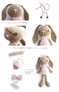 conejito amigurumi crochet 10 Peluche de crochet Conejita de orejas largas   AMIGURUMI