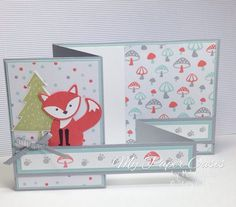 Foxy friends Suite Double Z card by My Paper Oasis, stampin up, fox