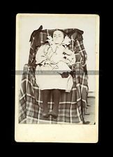 Amazing Post Mortem Photo - Dead Girl in Chair Sunken Eyes Holding Matching Doll