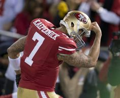 "Colin Kaepernick. ""Kaepernicking"" after scoring against the Packers. Jan 12th 2013."
