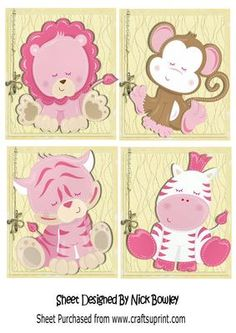 Four little toppers of sleepy jungle babies on Craftsuprint - Add To Basket!