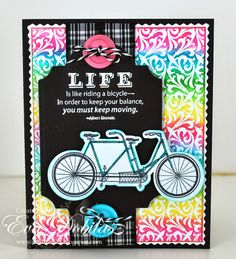 For the love of life: JustRIte Papercrafts: Bicycle Built for Two and Fleur Twist Background stamps