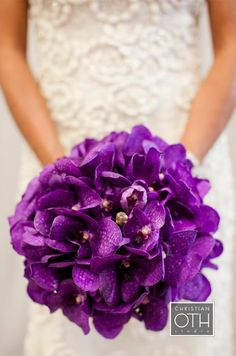 The bouquet of purple Vanda orchids matches the color scheme from Holly and Rodney's wedding 17 years ago.