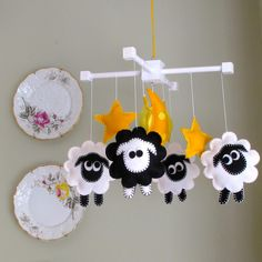 Baby Nursery Mobile-Infant Crib Mobile - Counting Sheep - Black And White. $88.00, via Etsy. I could make one of these!