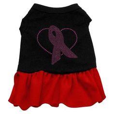 Pink Ribbon Rhinestone Dress Black with Red Med (12)